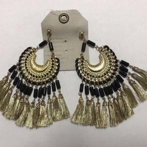 Anthropologie Daria Gold Fringe Hoop Earings-NWT